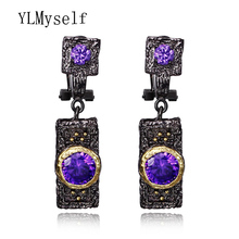 Factory Price Noble fashion New Purple colour Cubic Zirconia alli express bijouterie Black Jewelry Women Earrings gift for Wife