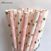 Light Pink Star Gold Star Paper Straws Baby Shower Wedding Set of 25 Pink Baby Shower Gold Party Star Gold and Pink