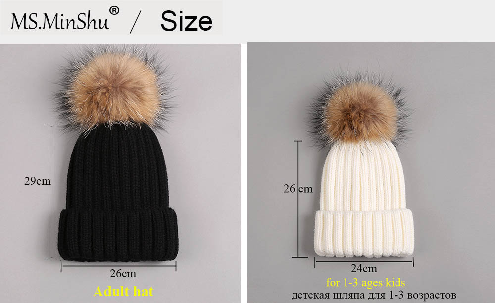 beanies with pompom thick size