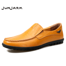JUNJARM 2017 New Handmade Mens Loafers Shoes High Quality Genuine Leather Men Driving Shoes Breathable Mens Moccasins Shoes(China)
