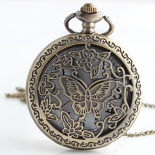 New Arrival Bronze Butterfly Pocket Watch Necklace Mens Womens jewelry Promoations