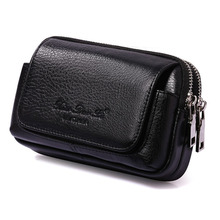 Men Cowhide Genuine Leather Military Cell/Mobile Phone Cover Case skin Hip Belt Bum Purse Fanny Pack Waist Bag Pouch(China)