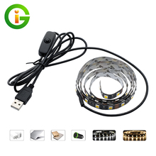 5V USB LED Strip 5050 TV Background Lighting 60LEDs/m Warm White / White whit Switch 50cm / 1m / 2m Set(China)