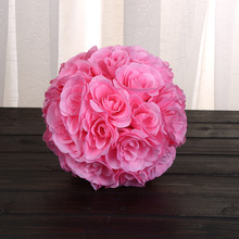 "Hot 8""(20cm) pink color Silk Kissing Artificial Rose Flowers Ball for Wedding Tea Party Decoration Christmas Decoration Supplies(China)"