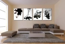 Traditional Chinese black and white art Chinese oil painting 3 pieces ink art wall pictures for living room