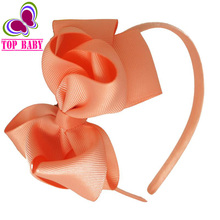 New Fashion Solid Hairband For Baby Girls Grosgrain Ribbon Hair Bows Two Layer Hairbow Women Fashion Hair Accessories