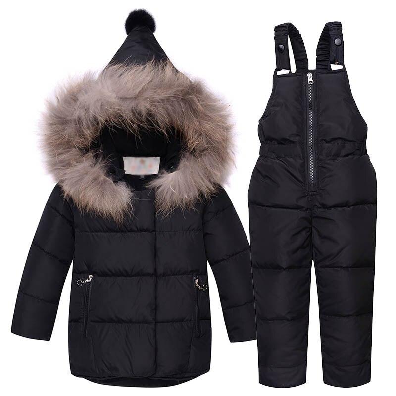 2017 New Winter Children Duck Down Jacket Set Pants-Jacket Clothing Girls Baby Coat Jacket Snow Wear real fur<br>