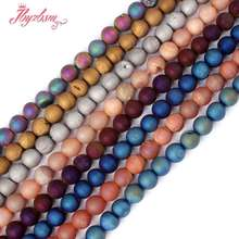 "8mm Natural Frost Round Metallic Coated Druzy Agat Gem Stone Beads Strand 15""For Necklace Bracelets Jewelry Making,Free Shipping(China)"
