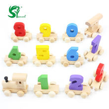 senteng Wooden Toys for children Number Train Dragging Dismounting Car Game /Baby Educational Doll Birthday Gift Childhood(China)