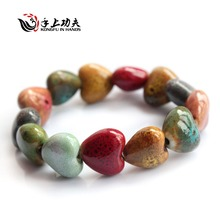 Hot Sale Heart Shaped vintage beads lady bracelet Bohemia Ceramic stone charm women Bangles fashion christmas gift free shipping