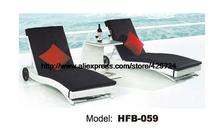 Modern Deisgn Rattan Sun Lounger Leisure Outdoor Lying Sofa Bed Lying Chair Swing Pool Furniture Holiday Garden Rattan Chair X2
