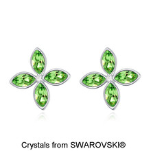Romantic Women's White Gold Color Stud Earrings, Made With SWAROVSKI ELEMENTS Four-Leaf Clover Crystal Earring for Wedding 21239(China)