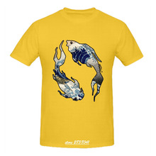 RTTMALL Summer Fashion Best Gift Anime Custom t shirts mens 100% Cotton Coy Wave Large Size Apparel Young Guy Yinyang Fish shirt(China)
