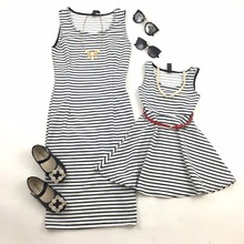 family matching summer dresses floral 2017 new mother daughter clothes stripe printing party family look dresses(China)