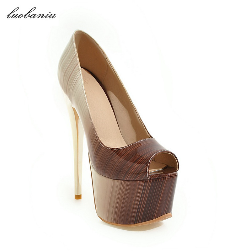 33-43 Extreme High Heels Shoes Women High Heels Shoes Patent Leather Platform Shoes Peep Toe High Heels 16 CM <br>