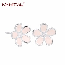 Kinitial 1Pcs  925 Sterling Silver Pink Plum Flower Post Earrings For Women Accessories Fashion sterling-silver-jewelry Brincos