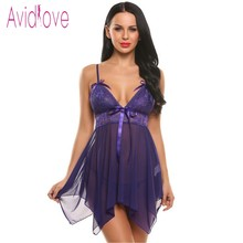 Avidlove Women Sexy Lingerie Mini Dress Bow Clothing See-Through Nightwear Babydoll G-String Sleepwear Lingerie Sexy Erotic Hot(China)