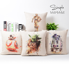 Star Wars Cushion Covers Hand Paintings Yoda Darth Vader Splatter Art Cushion Cover Car Sofa Decorative Linen Beige Pillow Case(China)