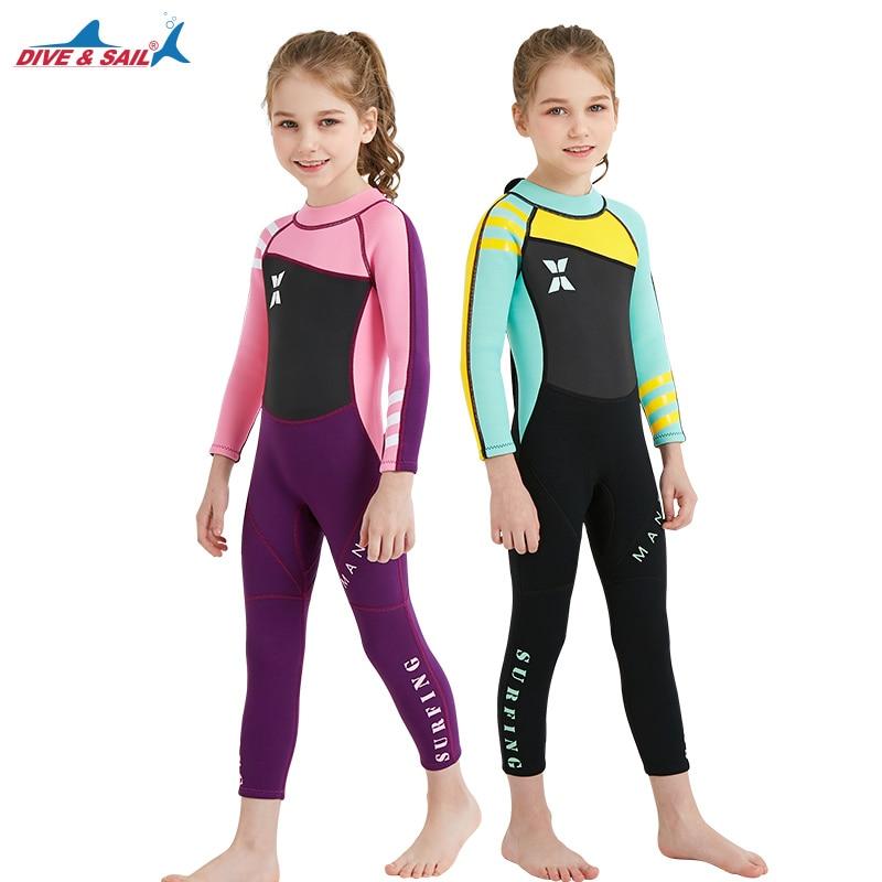 DIVE&amp;SAIL Neoprene Long Sleeve Wetsuit Kids Boy Girl Diving Suit for Children Swimsuit Wet Suit Rashguard Swim Snorkeling Suit<br>