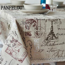 PANFELOU Stamps tower style restoring ancient ways English letters kitchen table cloth tea table cloth cover towel cloth(China)