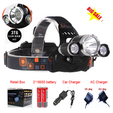 5000 Lumen 3x C-XM-L T6 4 Modes Rechargeable Led Headlamp Led bike light Headlight Light With charger +car charger+battery(China)