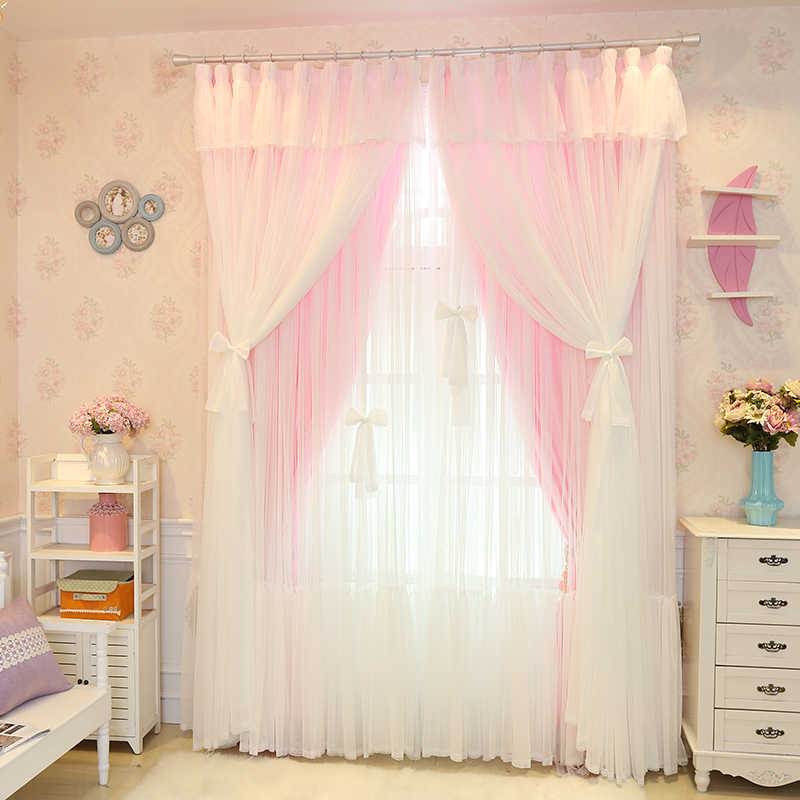 Senisaihon Christmas Princess Lace Pink Blackout Curtain Girl Bedroom Tulle Curtain Wedding Room Voile Curtain for Living Room