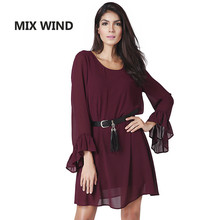 MIX WIND The new spring and summer 2017 couture fashion sexy backless lotus Sleeve Chiffon Dress free shipping