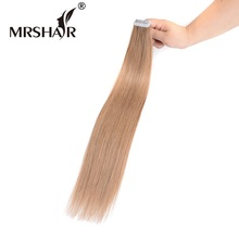 "MRSHAIR 10# Tape In Hair Extensions 16"" 18"" 20"" 22"" 24"" Honey Brown Brazilian Hair Pu Skin Weft Hair Extensions Non-Remy 20pcs"