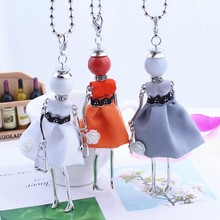 HOCOLE New Women Fashion French Paris Girl Doll Pendant Necklace Sweater Chain Long Cloth Grey Dress Doll Necklace Jewelry Gifts(China)