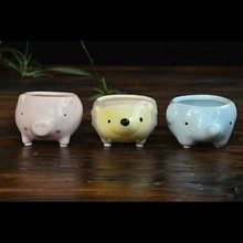 Useful Kawaii Little Animals Ceramic Flowerpot Pig Elephant Hedgehog Planter On Sale Cute Succulent Plants Flower Pot