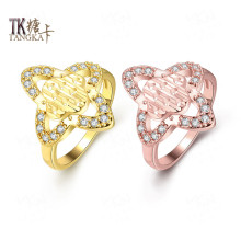 TANGKA 2017 fashion heart-shaped flower flower ring shop small CZ stone female birthday gift exquisite jewelry quality sales