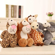 28cm Kawaii Creative Big Eyes Series Zebra Giraffe Crocodile Leopard Monkey Lion Cattle Plush Toys Kids/Girlfriend Birthday Gift(China)