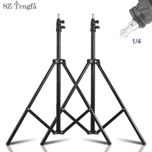 2 pieces kit 2m Light Stand Tripod With 1/4 Screw Head with Camera Tripod Lamp Holder Flash Bracket for Godox Flash video light
