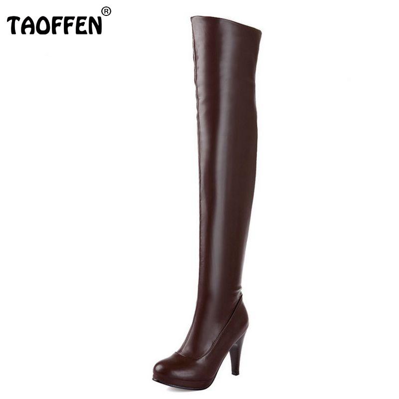 TAOFFEN size 32-48 women high heel over knee boots ladies riding long snow boot warm winter botas heels footwear shoes P14733<br>