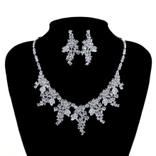 Fashion Silver Plated Women Necklace Earrings Bridal Jewelry Sets Bride wedding Jewellery Party Prom Leaf Dress Accessories