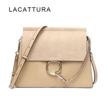 LACATTURA Hot Sale Famous Brand Design Women Handbag High Quality Genuine Cowhide Leather Cloe Bag Casual Chain Shoulder Bag(China)