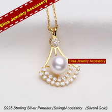 S925 Sterling Silver Pearl Pendant Accessory Swing Design Pendant Holder Women DIY Pearl Pendant Jewelry Findings 3Pcs/Lot