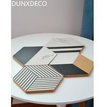 DUNXDECO 4PCS Modern Nordic Black White Geometric Artistic Cork Coaster Coffee Cup Mat Table Kitchen Gadget Deco Gift Photo Prop