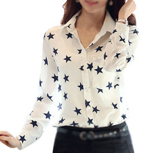 MAKE Hot Flower Printed Women White Turn-down Collar Shirt Five-pointed Star Print Blouse Long Sleeve Shirt S-XL(China)