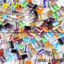 JHNBY Rectangle Austrian crystal beads 4*8mm 50pcs High quality Square shape glass Loose beads for jewelry making bracelet DIY