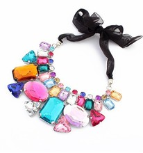 2015  Candy colored irregular geometric mosaic stone necklace short necklace 12pcs/lot