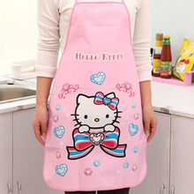 1Pcs Lovely Cartoon Korean Hello Kitty PVC Waterproof Apron Kitchen Accessories House Cleaning House Keeping Anti Dust Pinafore