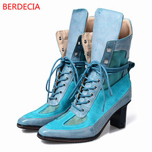 Mixed Colors Fabric 5cm Strange Style Heel Pointed Toe Women Shoes Women Boots Cross-tied High Heels Botas Femininas Com Salto