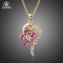 AZORA Light Gold Color Twisted Heart Pendant Necklaces for Women Pink Crystal Flower Necklaces Woman Party Jewelry TN0199(China)