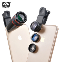 12X Telephoto Telescope Optical Zoom Lens+ Wide Angle & Macro+ Fisheye Lens Camera Lens Kit for iPhone5s 7 6s Plus Samsung 12CX3(China)
