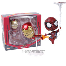 COSBABY MARVEL SpiderMan Homecoming Iron Man & Spiderman Bobble Head Dolls Figures Toys Collectible Set 2-pack(China)