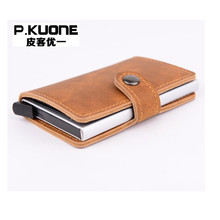P.KUONE RFID Blocking Mini Wallet 2017 Protect Safe Credit Card Holder Designer High Quality Aluminum Leather Clip Waller Purse