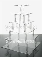 High Quality 6 Tier Acrylic Square Cake Stands For Wedding Perspex Cupcake Display Stand