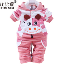 BIBIHOU Baby Girls toddlers Boys Children Clothing Set Children's Suits Christmas Tracksuit Sports Hooded Hoodie Pants Clothes(China)