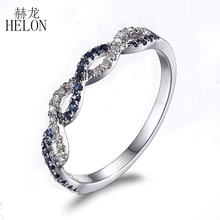 HELON Solid 10K White Gold Pave 0.25ct Diamonds & Sapphires Twisted Engagement & Wedding Ring Band Gemstone Women's Jewelry Ring